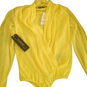 Yellow Sexy Long Sleeve Wrap Bodysuit Blouse